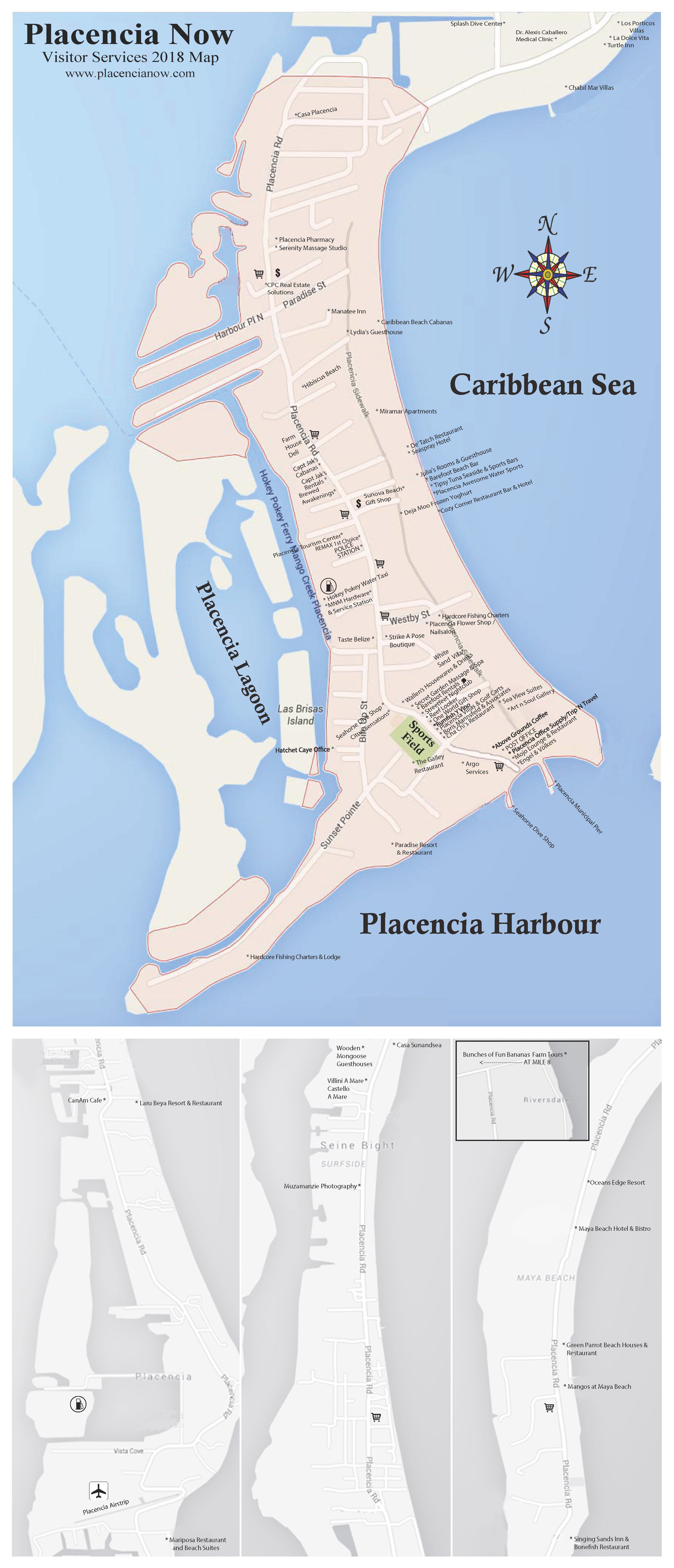 Placencia Now Map - Placencia Belize